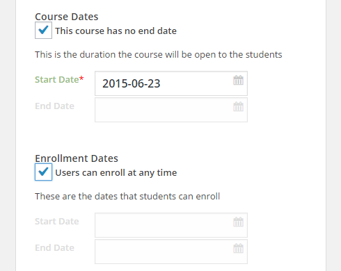 "In Step Four > Course Dates, the checkbox has been selected for the option ""This course has no end date"" and under ""Enrollment Dates,"" the checkbox has been selected for ""User can enroll at any time."""