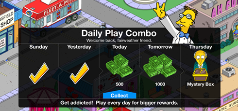 The daily play combo in The Simpsons: Tapped Out freemium game app.