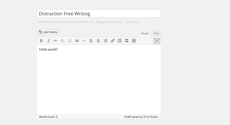The distraction free writing mode in action.