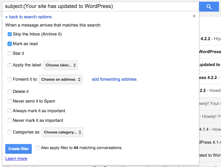 Gmail filtering options