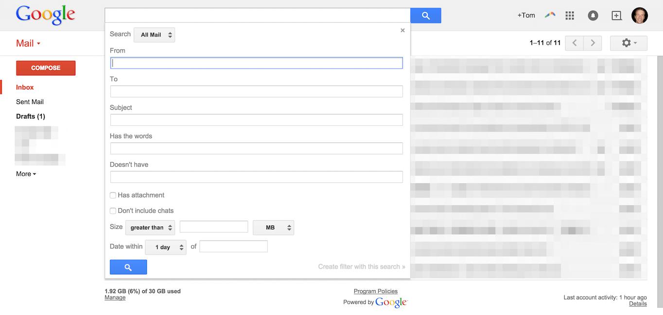 Gmail search criteria