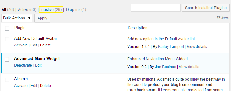 The inactive plugins link is highlighted in the admin dashboard > Plugins > Installed Plugins page.
