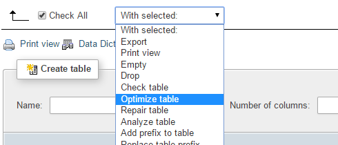 The optimize table query from the select box in phpMyAdmin.