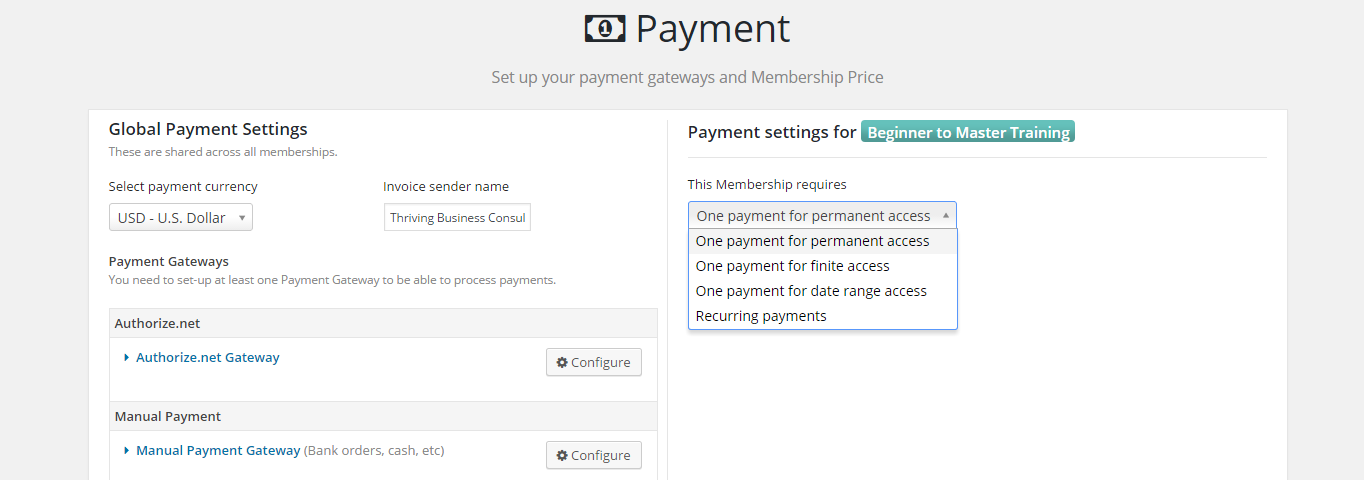 The payment settings screen in Membership 2 Pro.