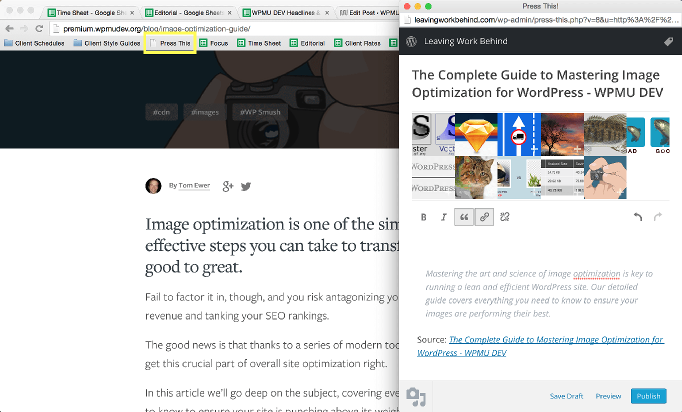 Adding Press This to your WordPress site.