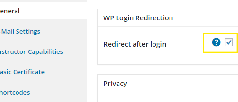 "The ""Redirect after login"" checkbox is highlight and checked."