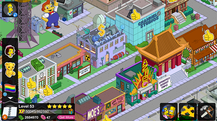 A look at The Simpsons: Tapped Out in game.