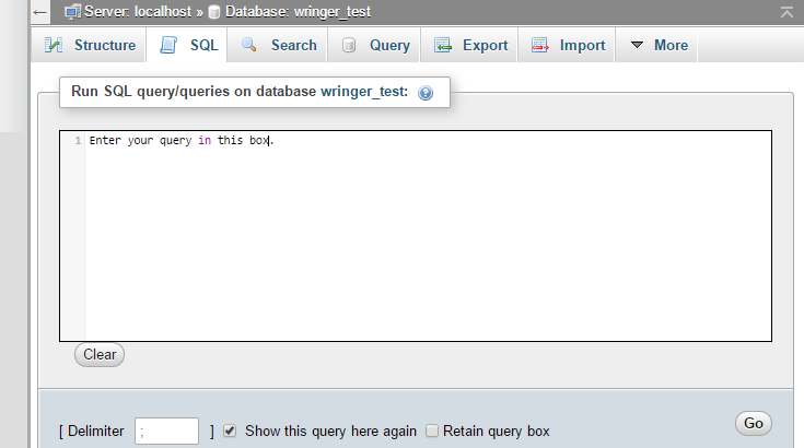 The SQL tab has been clicked in phpMyAdmin.