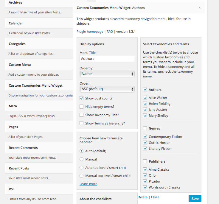 Taxonomies widget settings