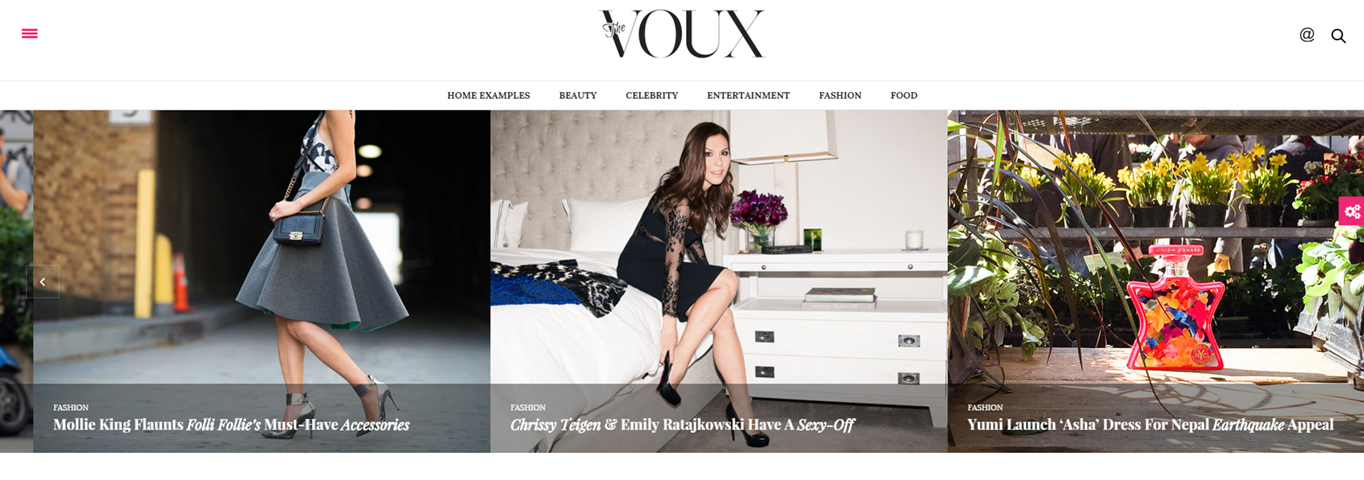 The Voux theme's slider.