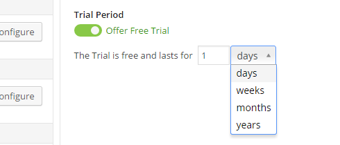 A trial period is enabled on the payments screen.