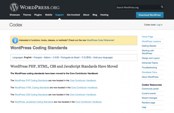 WordPress coding standards - Codex page