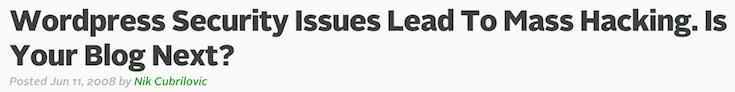 TechCrunch WordPress security issues article headline