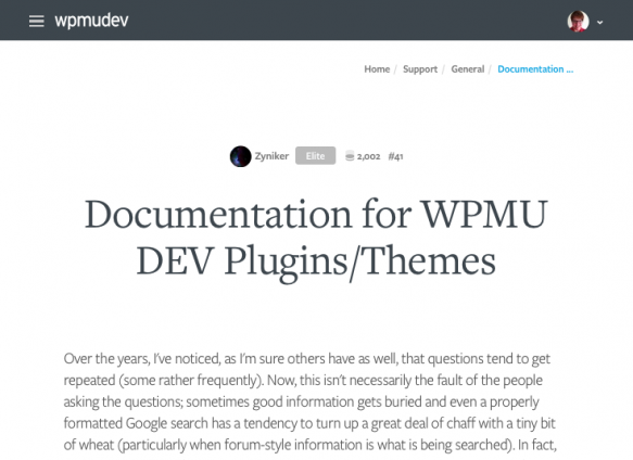 WPMU DEV documentation web page