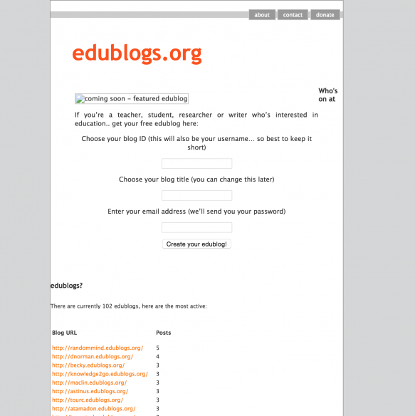 The original edublogs.org - that's a nifty theme I think you'll agree.