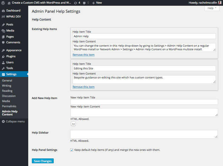 Admin Help Content Plugin - settings screen