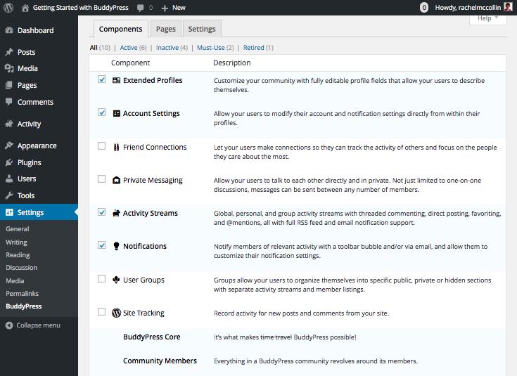 BuddyPress main settings screen