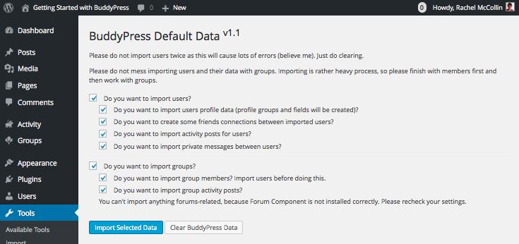 Testing BuddyPress with the BuddyPress default data plugin