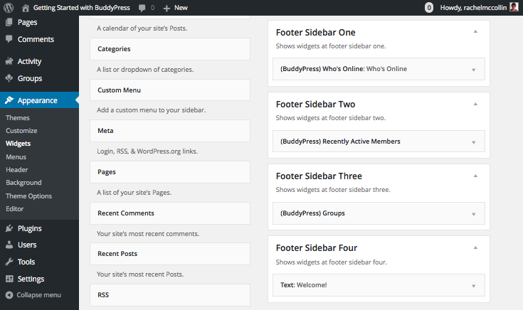 Installing BuddyPress - adding widgets to the footer