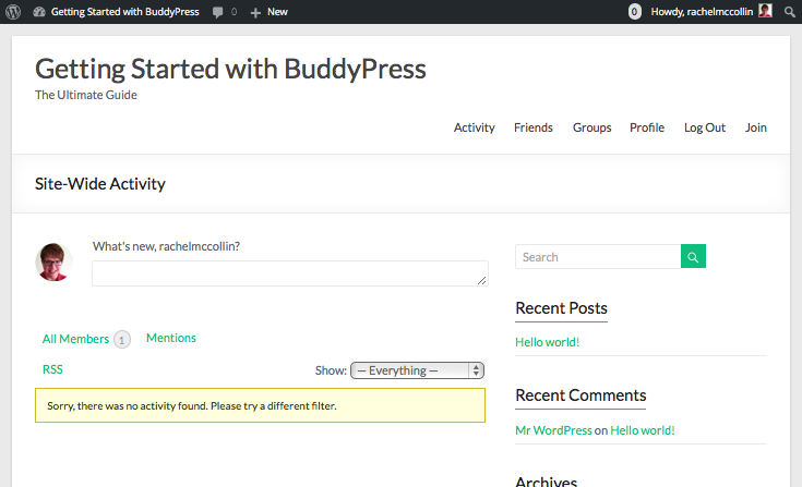 Installing BUddyPress - the sit'e home page with no content added yet