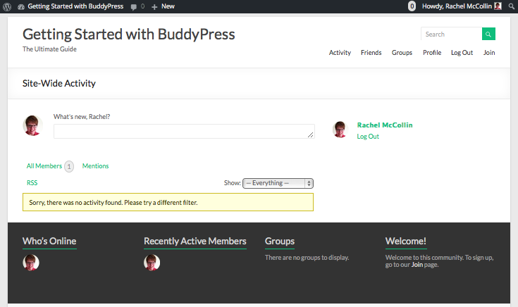 Installing BuddyPress - the site with a menu and widgets but no content
