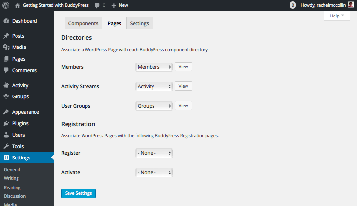 BuddyPress Pages settings tab