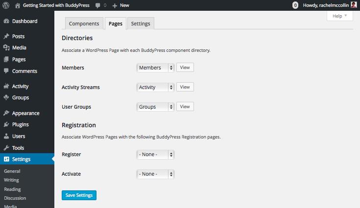 BuddyPress Pages settings tab