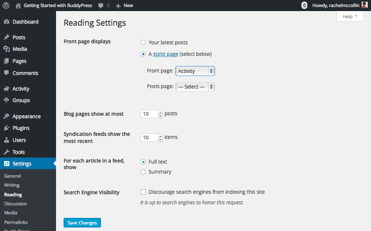 Configuring BuddyPress - Reading settings