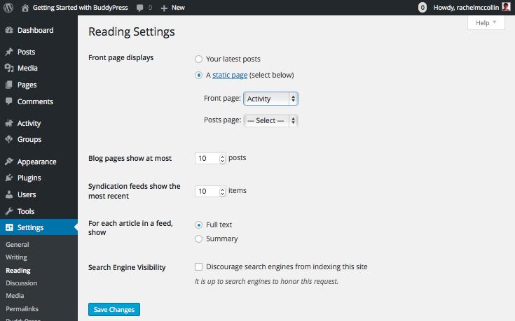 Configuring BuddyPress - Reading settings