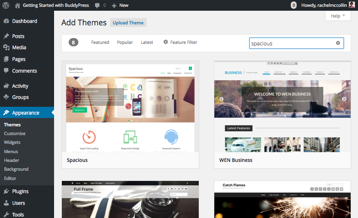 Creating a BuddyPress site - selecting the Spacious theme