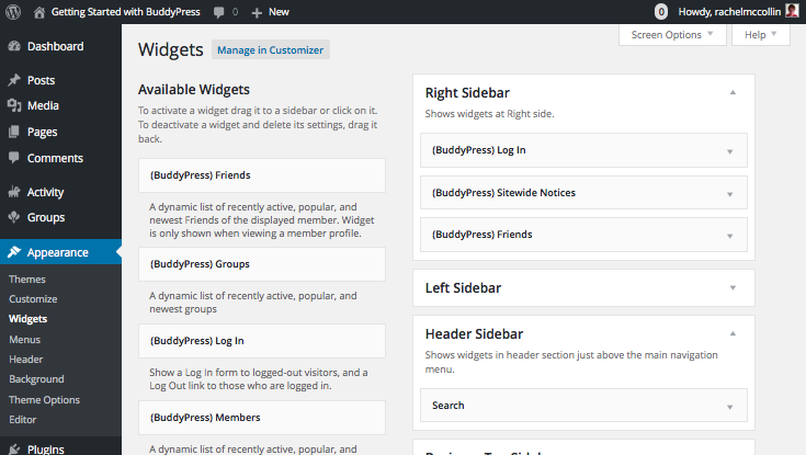 Installing BUddyPress - adding widgets to the sidebar and header