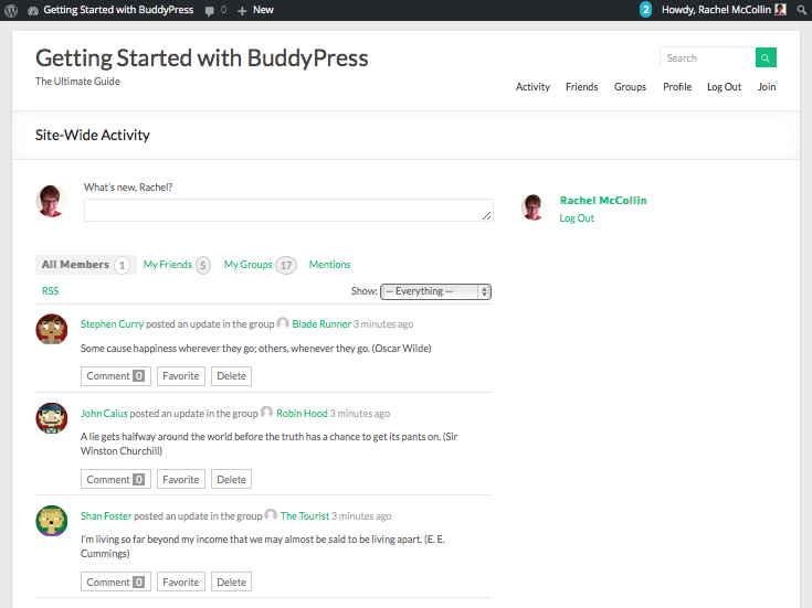 BuddyPress site with test data