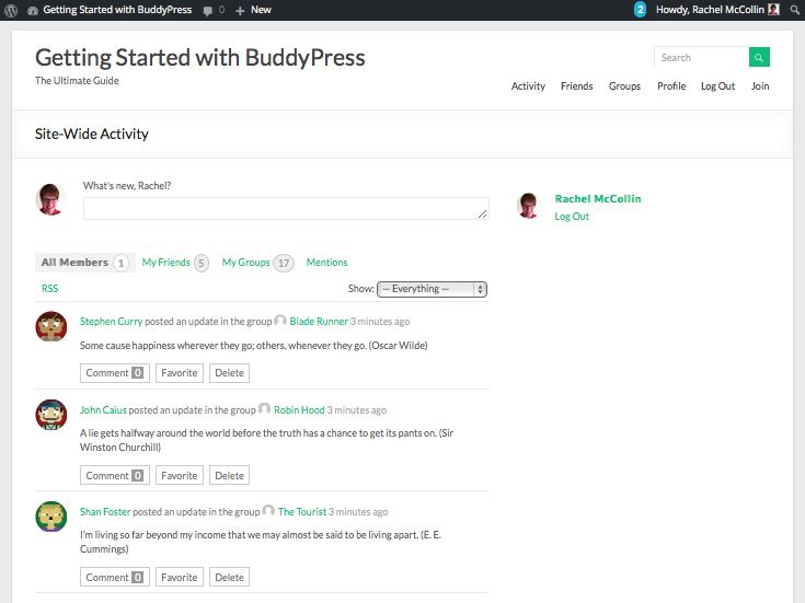 BuddyPress site with test data