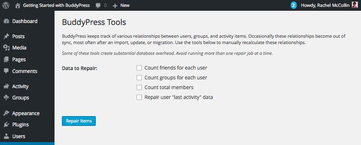 The BuddyPress Tools screen
