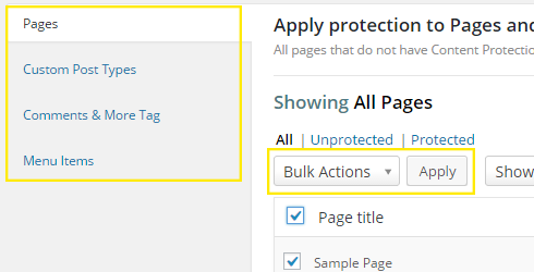 """The Membership 2 > Protection Rules page with the """"Bulk Actions"""" drop down box and """"Apply"""" button highlighted."""