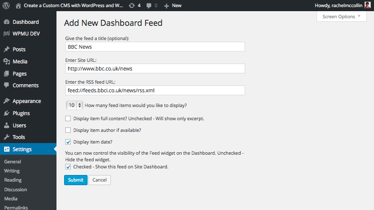Dashboard feed - setting up an RSS feed