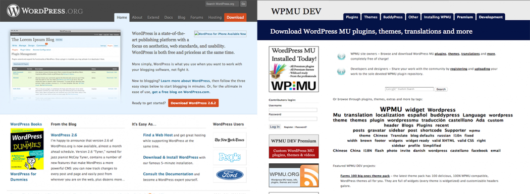 WordPress.org and WPMU DEV websites