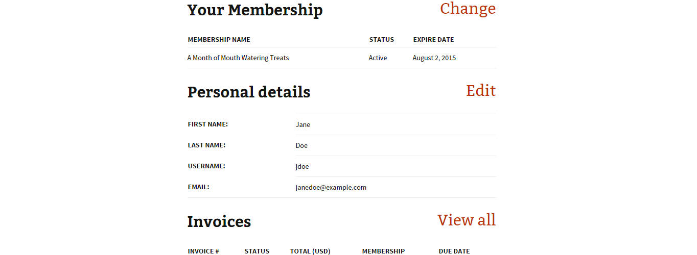 The account page viewable to members.