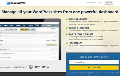 ManageWP lets you manage multiple WordPress sites.