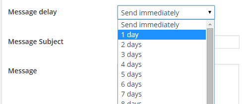 Message delay drop down box