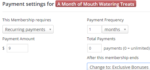 Payment settings for a monthly membership.
