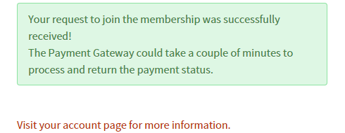 The default messge shown after successful registration.