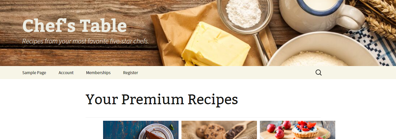 Sample five-star recipe site with premium recipes shown to paid members.