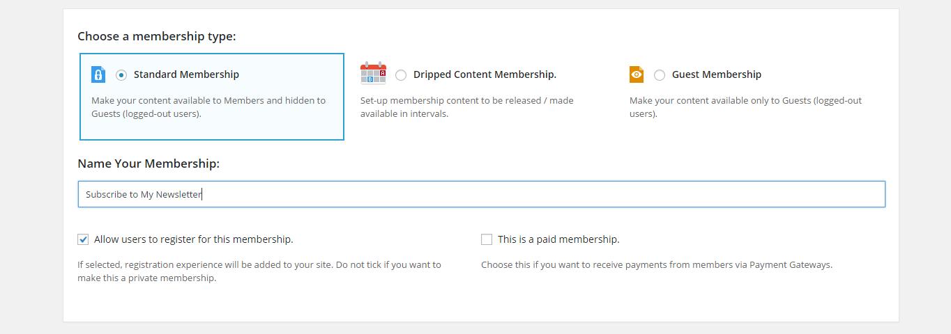 Standard membership setup