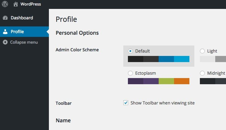 A subscriber's view of the WordPress admin