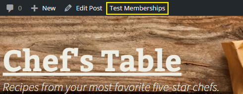 """The """"Test Memberships"""" button is highlighted in the admin bar."""