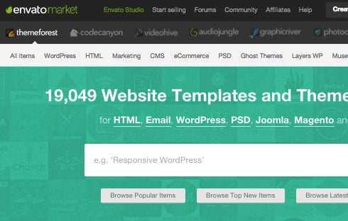ThemeForest – the largest online WordPress theme marketplace.