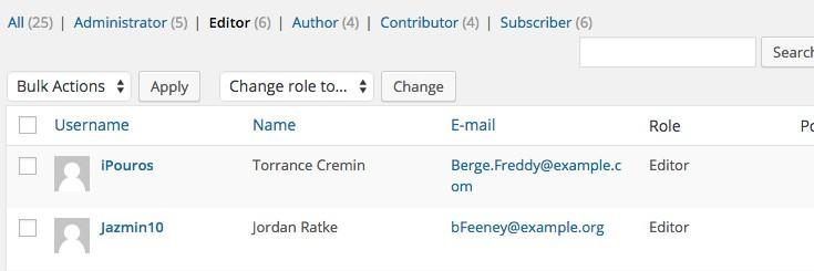 The WordPress user management interface