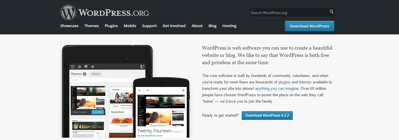 The front page of WordPress.org.