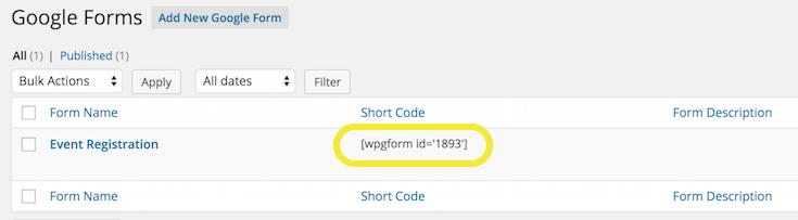 Google Form short code